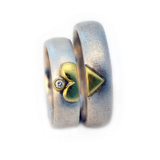 Damenring 925/-Silber, 750/-GG, Brill. 0,02ct. Herrenring: 925/-Silber, 750/-GG