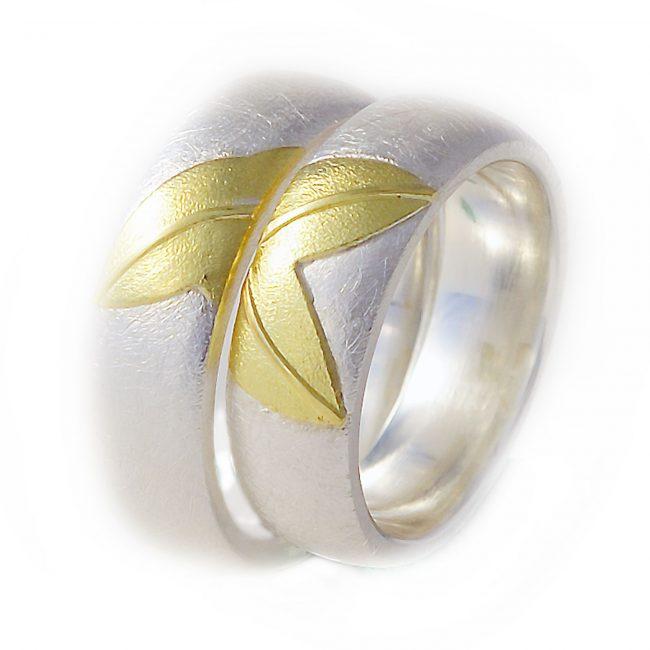 Damenring: 925/-Silber, 750/-GGHerrenring: 925/-Silber, 750/-GG