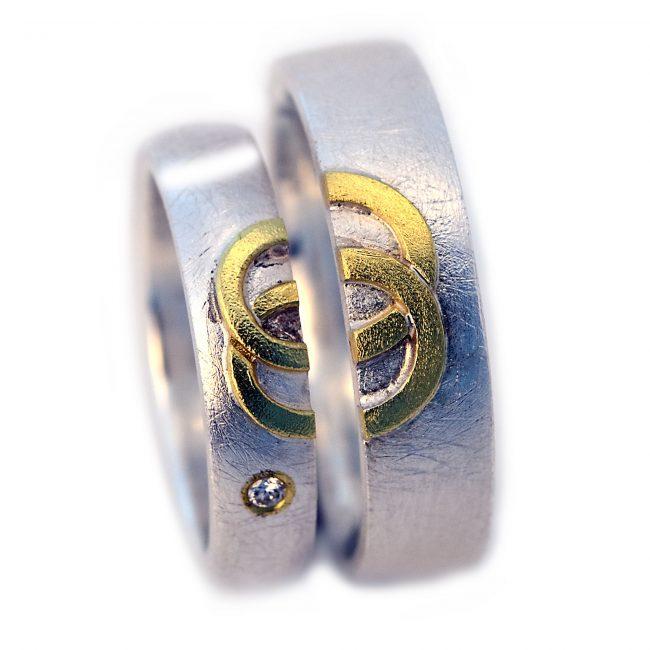 Damenring 925/-Silber, 750/-GG, Brill. 0,02ct.Herrenring: 925/-Silber, 750/-GG (auch in 6mm Schiernbreite lieferbar